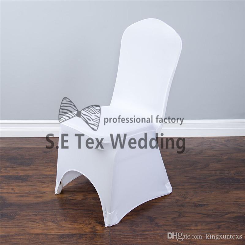 Couverture en arc de couverture de chaise de Lycra Spandex de couleur blanche agréable ou devant plat avec la poche forte haut tissu épais