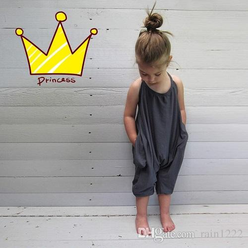 Little Girls Cotton Onesies Rompers Kids Jumpsuits Overalls for Baby Cotton Backless Rompers Jumpsuits One Piece Grey Suspender Overalls