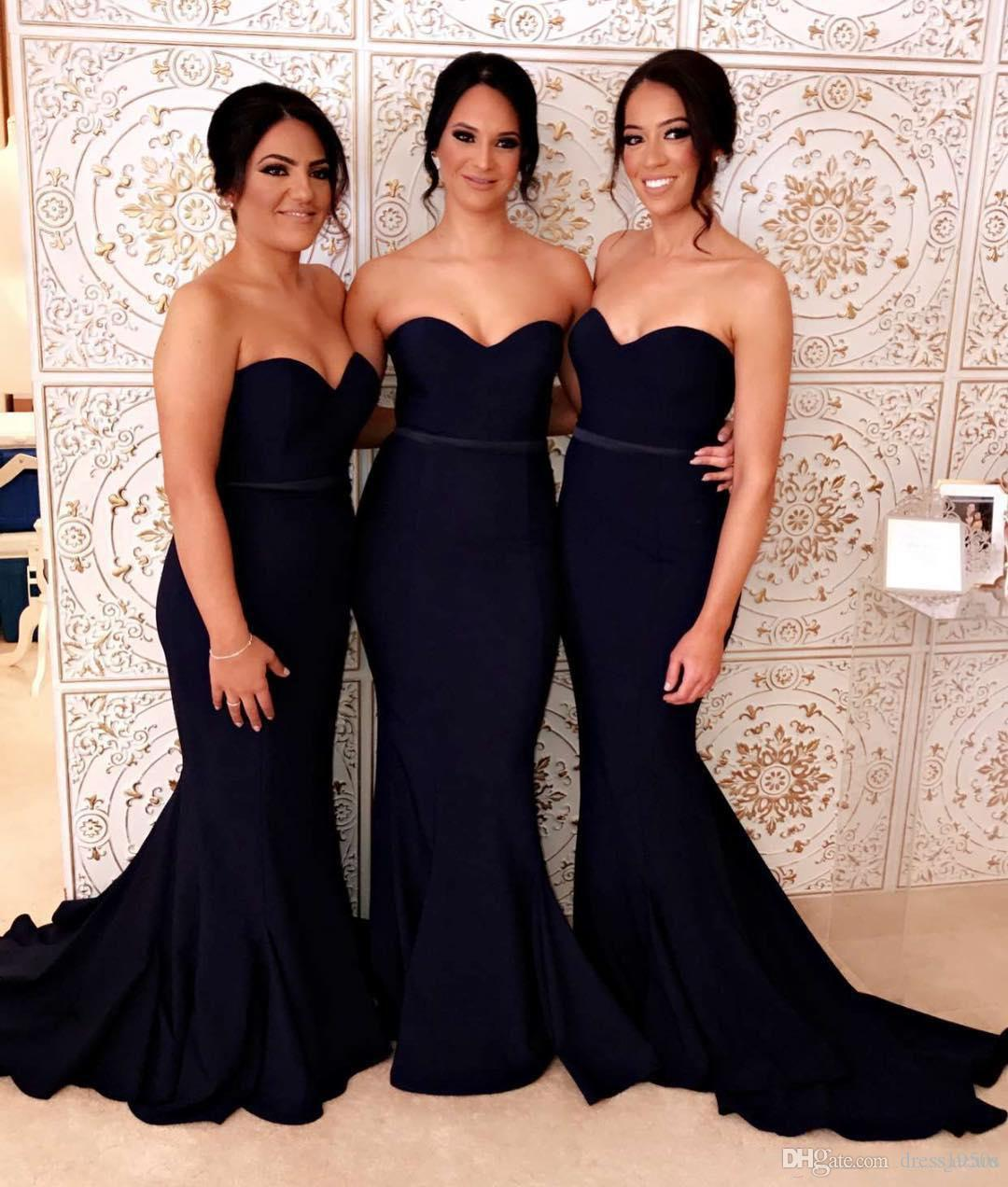 2018 Black Mermaid Country Bridesmaids Dresses With Sash
