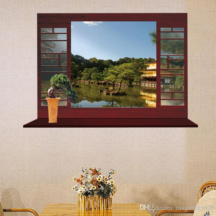 New Arrival 3D Window View European and Chinese Landscape Wall Art Mural Decor Bedroom Living Room Background Decoration Wall Sticker