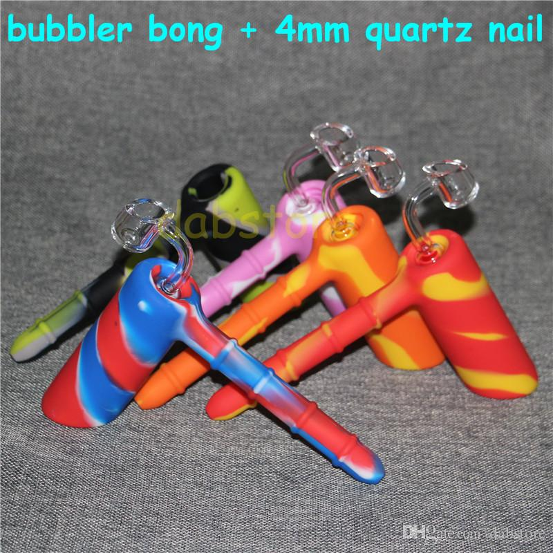 Colorful Silicone Pipes with glass bowl Tobacco Pipes smoking Hand Pipes hammer silicone bong with clear quartz nail mixed colors