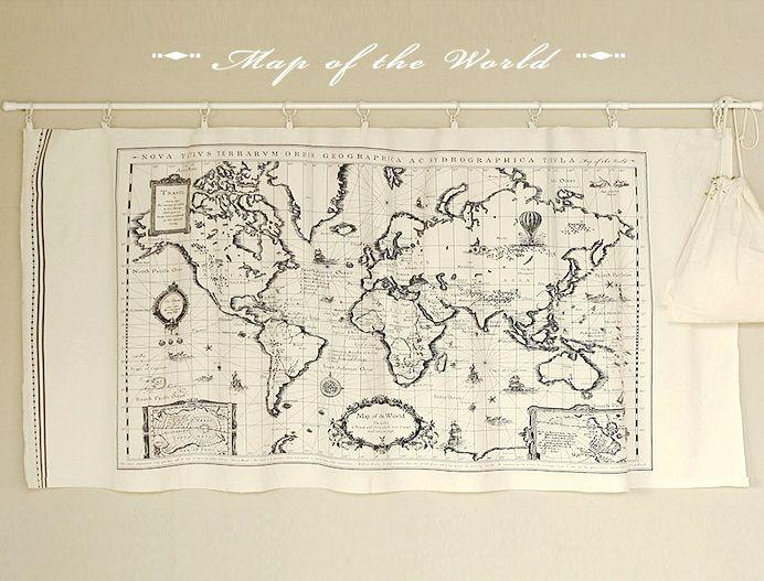 2018 vintage world map fabric panel sewing quilt patchwork material see larger image gumiabroncs Image collections