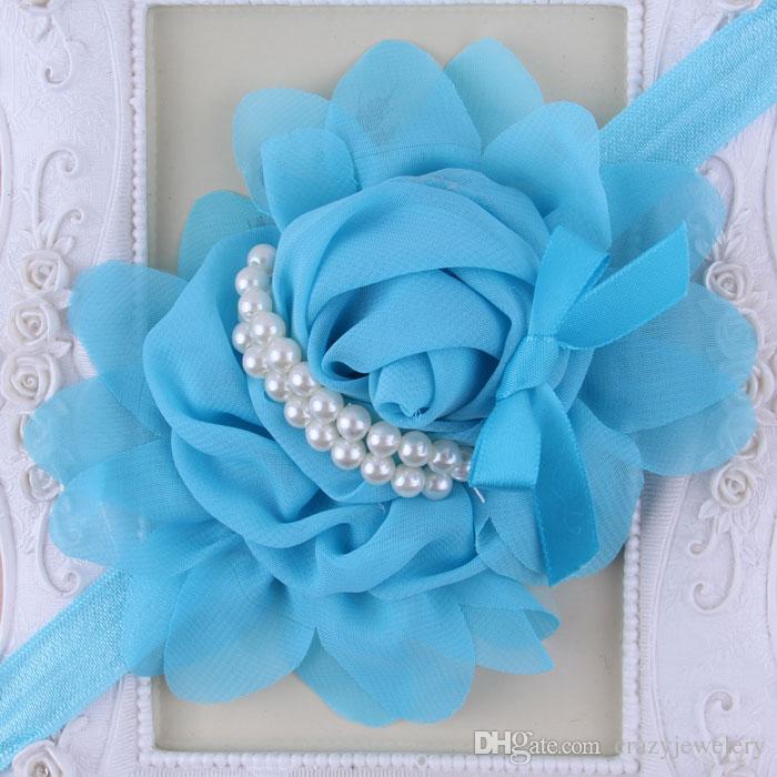 Baby Flower Headbands Girl Rose Flower hairbands Children Hair Accessories infant Pearl Flower Hair Bow Headbands