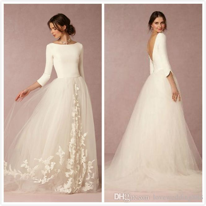 Non-Traditional Wedding Dresses Satin Long Sleeve