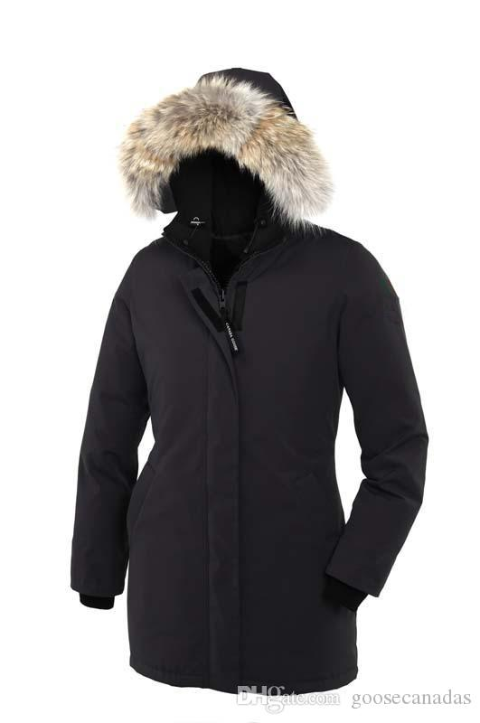 Mujeres Victoria Femme al aire libre chaqueta de piel abajo Hiver grueso cálido a prueba de viento Goose Down Coat espesar Fourrure chaqueta con capucha Manteaus Doudoune