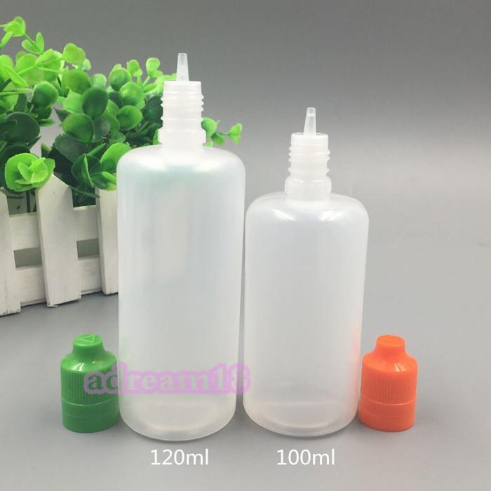 120ML زجاجة بلاستيكية E السائل ChildProof عبث القطارة كاب رقيقة طويلة السائل قطرات زجاجات E- السائل PE لينة 120 مل عبث زجاجة فارغة