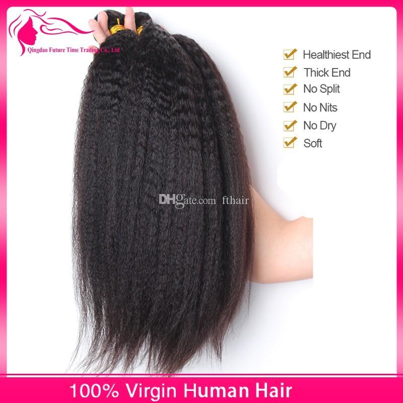 9А бразильского Виргинские грубая Яки человеческих волос афро кудрявый прямо итальянский Яки волос Weave уток 3шт Лот Mix длина Бесплатная доставка