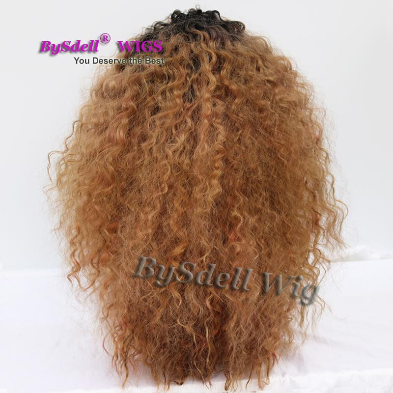 Fluffy Afro Kinky Curly Hair Front Lace Wig Synthetic Heat Resistant Black Ombre Brond Brown Color Lace Front Wig with Bangs for Black Women