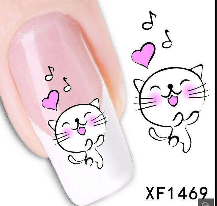 Xf1469hot sale 1 sheet watermark sticker cute cat decals for nail xf1469hot sale 1 sheet watermark sticker cute cat decals for nail art diy water transfer decal nail tools prinsesfo Choice Image