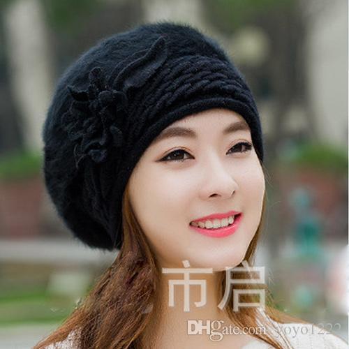 Beanies Women S Winter Hats For Women Knitted Girls Bonnet Caps Winter Lady  Hats Brand Wool Fur Beanie Flower Skullies Hat Beanies For Men Trucker Caps  From ... cbf64bde0068