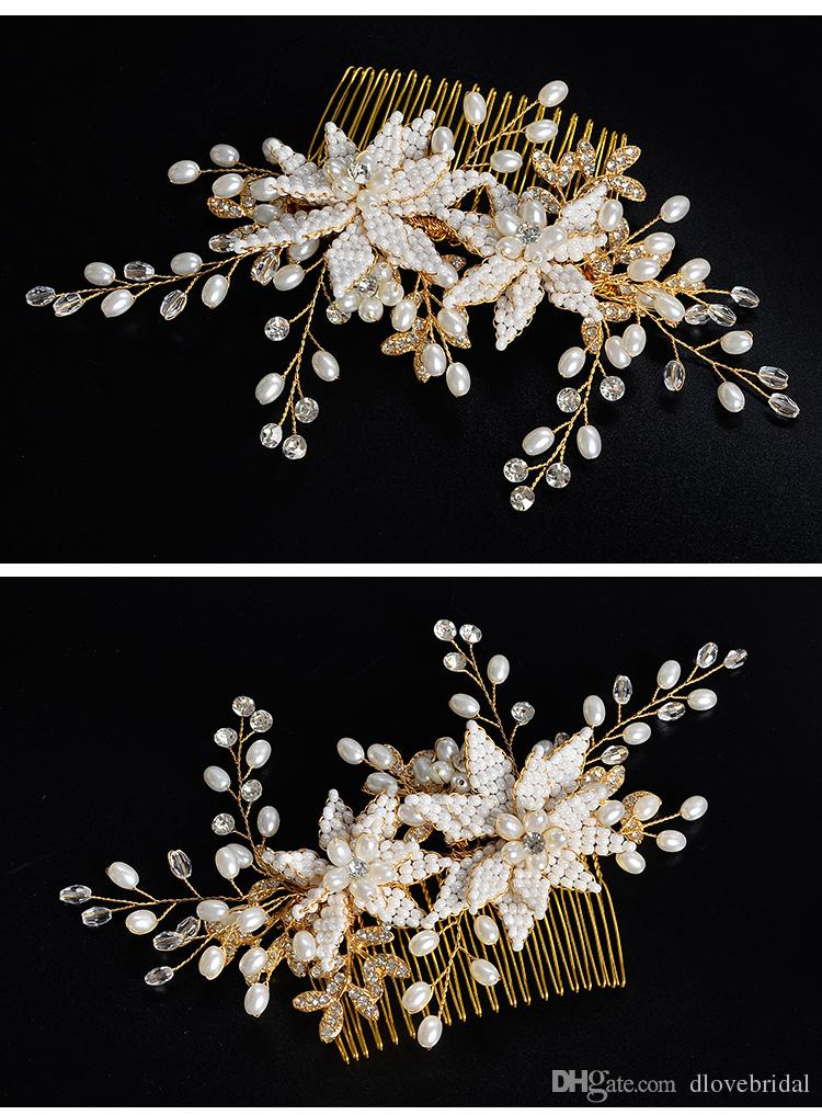 Fairy Gold Floral Bridal Hair Comb Clear Crystal Pearl Handmade Wedding Party Prom Hair Decorations Jewelry Accessory Headpiece Hairflower