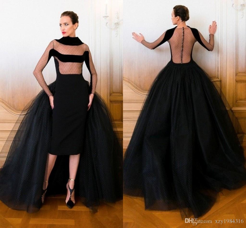 New High Neck Velvet Winter Evening Dresses With Sleeves Sheer ...
