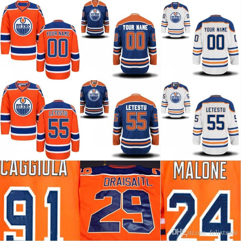 eef5527abd2 2019 Men Women Youth Edmonton Oilers Jersey 91 Drake Caggiula 29 Leon  Draisaitl 55 Mark Letestu 24 Brad Malone 2017 Cheap Stiched Hockey Jerseys  From ...