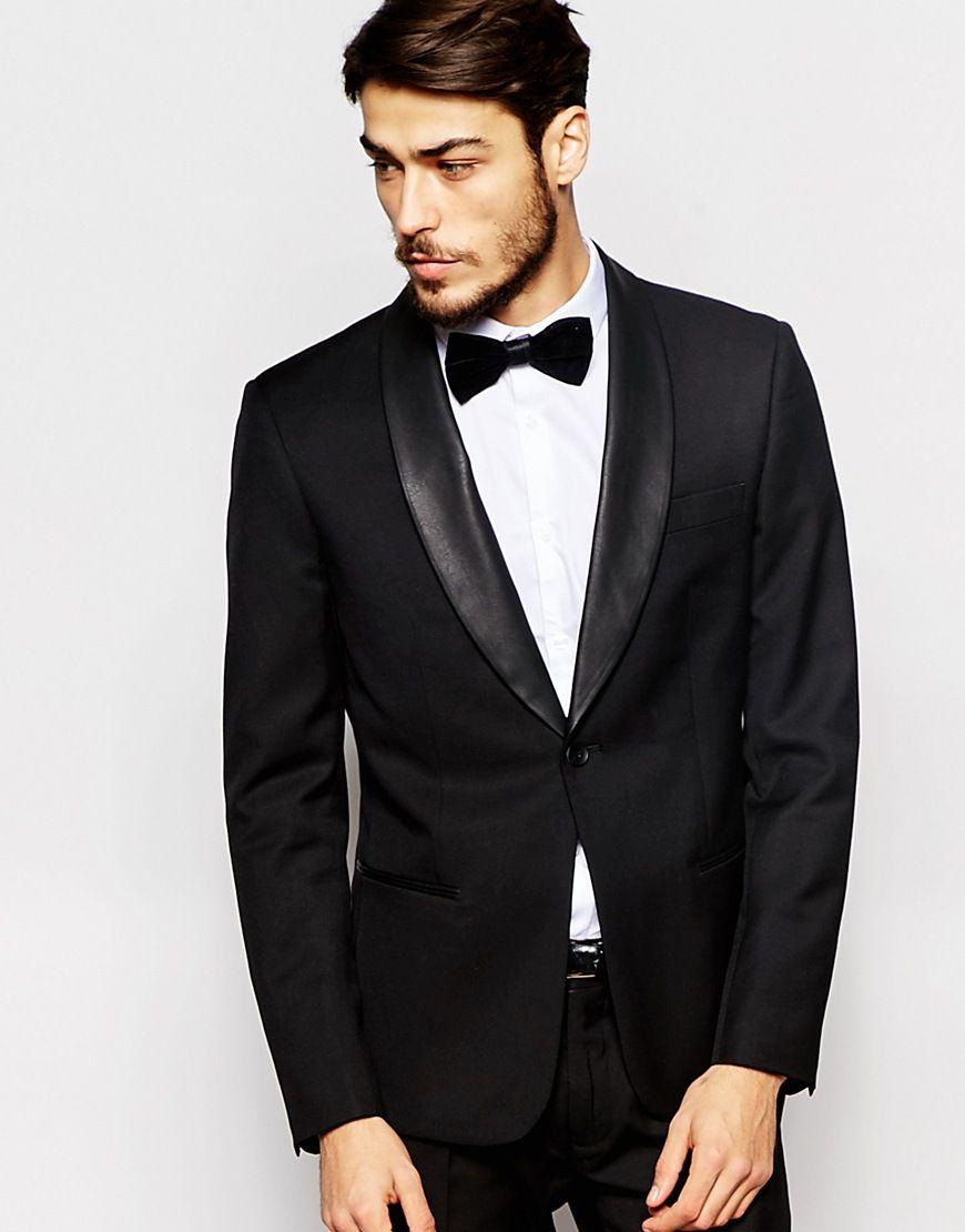 2016 Black Slim Fit Tuxedo Suits With Satin Shawl Lapel Wedding ...