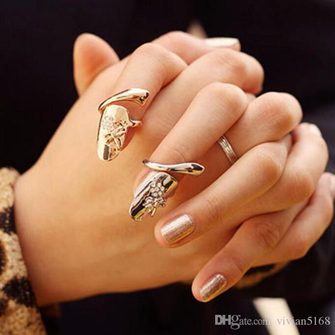 Fashion Personalized Dragonfly Sparkling Rhinestone Flower Nail Finger Ring Nail Ring Gold Silver Finger Nail Rings Drop Shipping