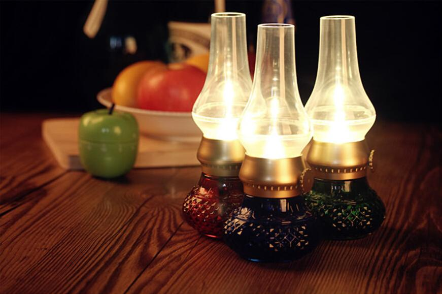 20ピースAバッグノスタルジアブローコントロール抗灯油LEDランプUSB充電レトロなベッドサイドランプ、ガラスキャンドルインテリジェントセンサーナイトライト