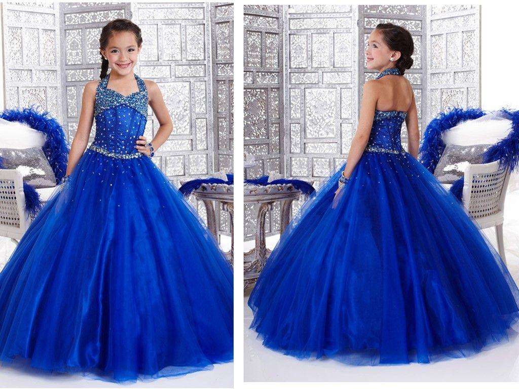 Royal Blue Girls Long Pageant Dresses Halter Beaded Floor Length ...