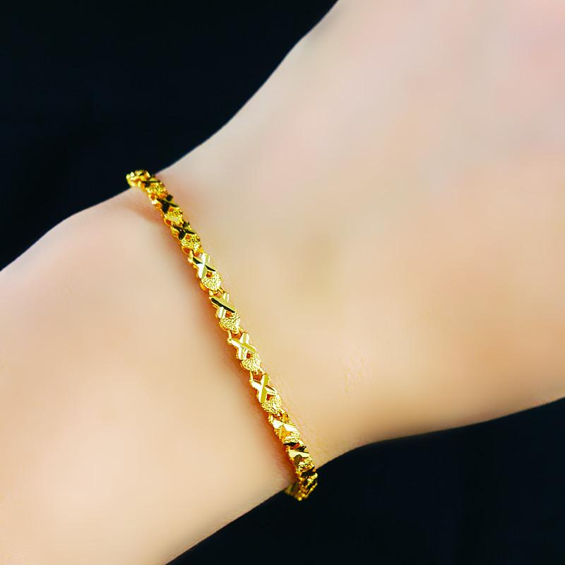 24k Gold Heart Shaped Bracelet Womens Bracelets Fine