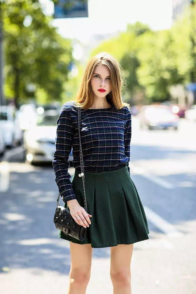 Spring And Autumn Outfit 2016 Korean Style Grid Two Piece Shirt Clothing Sets Casual Tall Waist ...