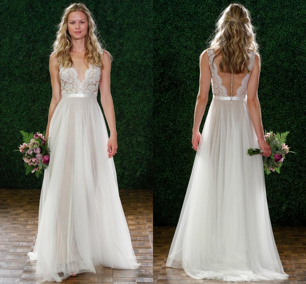 Discount 2015 Watters Wedding Dresses A Line V Neck Deep V Back ...