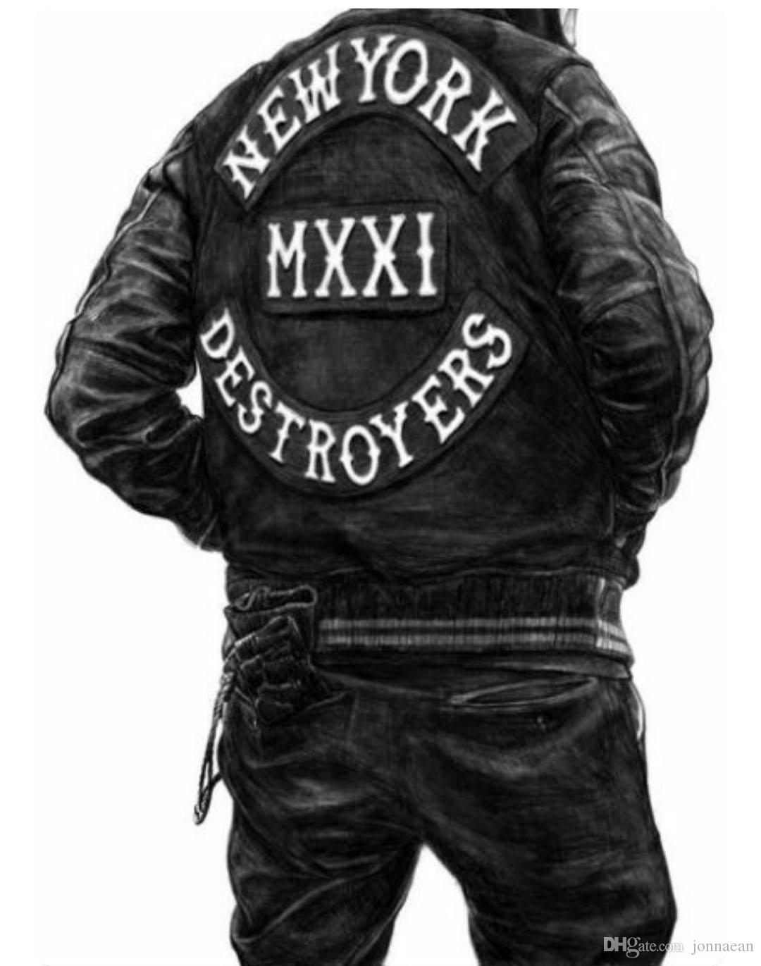 NEW ARRIVAL COOLEST NEW YORK MXXI DESTROYERS LARGE BACK EMBROIDERY PATCH MOTORCYCLE CLUB VEST OUTLAW BIKER MC COLORS PATCH