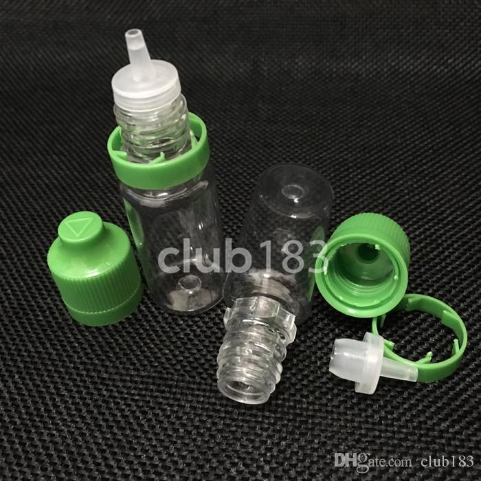 Freie Verschiffen Qualität eLiquid PET-Flasche 10 ml Leere Flasche aus Kunststoff Tropfflaschen mit langen dünnen Spitzen und Tamper Proof Kindergesicherte Caps