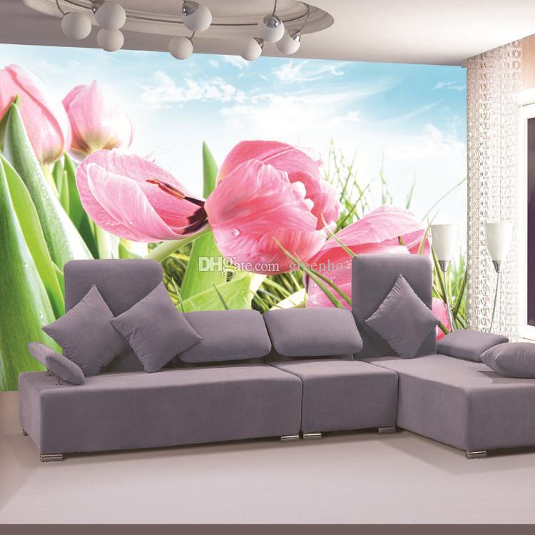 Elegant Pink Tulip Photo Wallpaper 3D Flower Wall Mural Custom Natural Scenery Design Your Kids Room Decor Bedroom