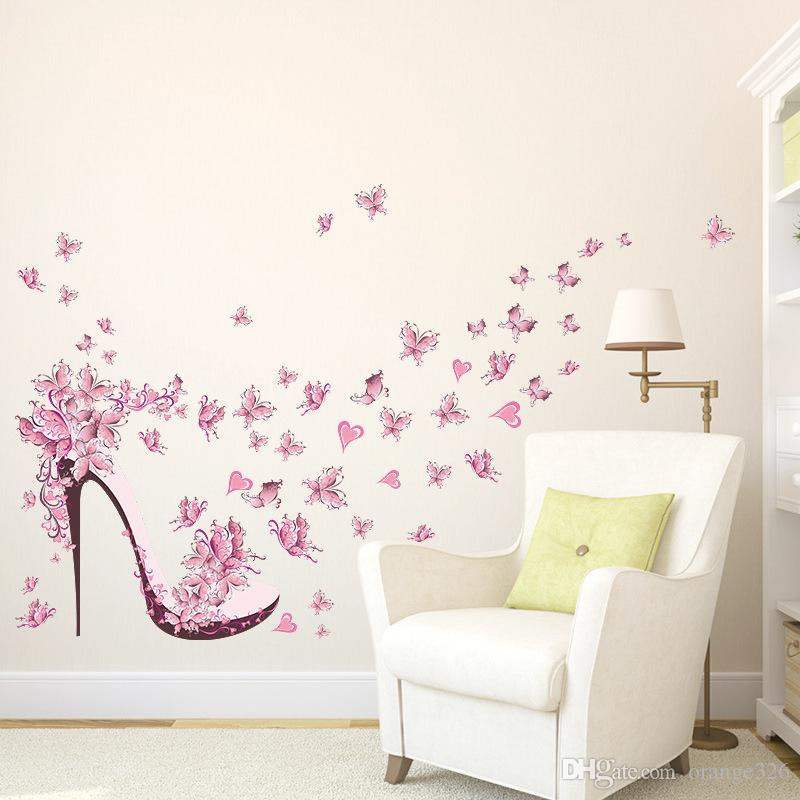 Fashion High Heel Shoes Flying Butterflies Heart Flower Wall Sticker PVC Decals Home Decor Girl's Room Decor Poster