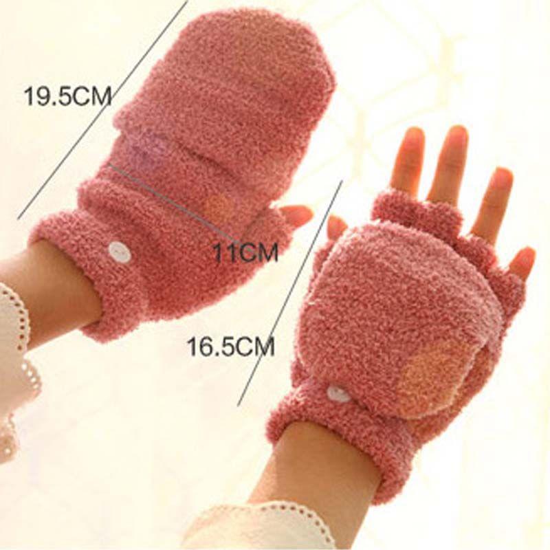 Winter Warm Men Women Gloves Cute Half Finger Turn Over Flip Knitted Mittens Hot Sale Gloves Without Fingers