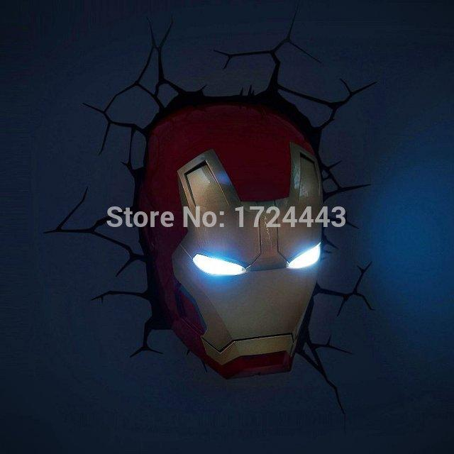 2017 Led Iron Man Mask 3d Deco Light Bedroom Wall Lamp Iron Man