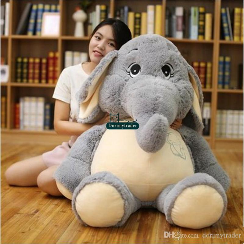 Dorimytrader cuddly soft animal elephant plush toy stuffed cartoon elephants doll pillow baby gift decoration 65cm 95cm 125cm DY61666