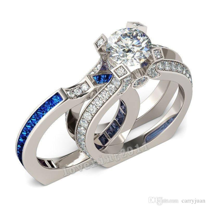 Свадебный комплект кольцо круглой огранки 925 стерлингового серебра топ продажа игристых ювелирных изделий аметист CZ Алмаз Woemen обручальное кольцо набор для влюбленных подарок