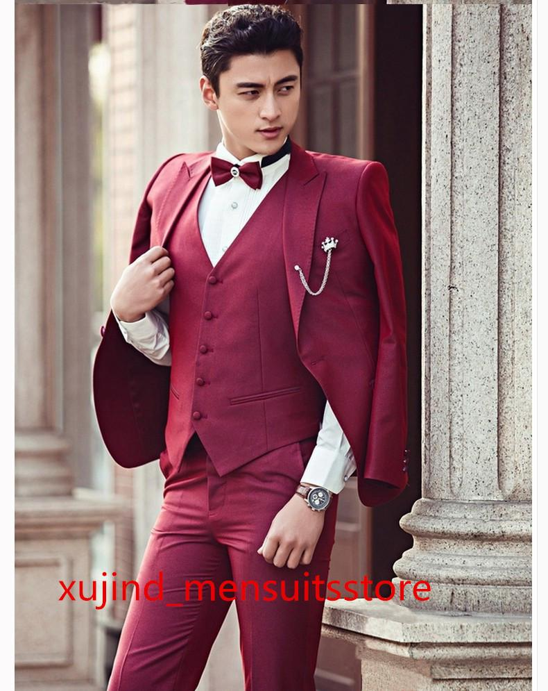 2015 New Korean Style Slim Dark Red Suit Theme Men Clothes Studio ...