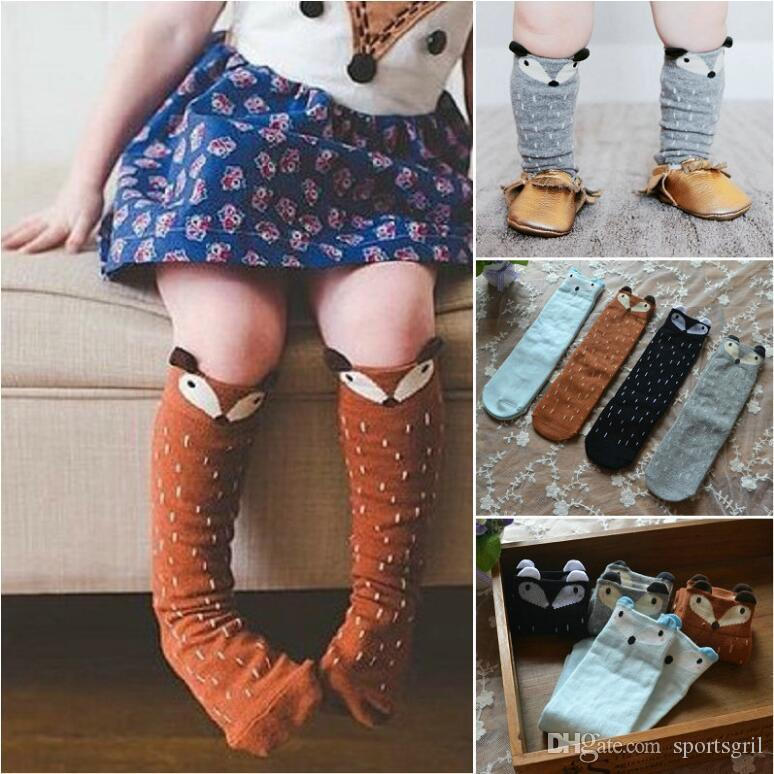 a9ad8056a 2019 INS Girls Fox Socks Knee High Stockings Children Toddler Cartoon  Animal Cotton Leg Warmers Non Slip Socks From Sportsgril