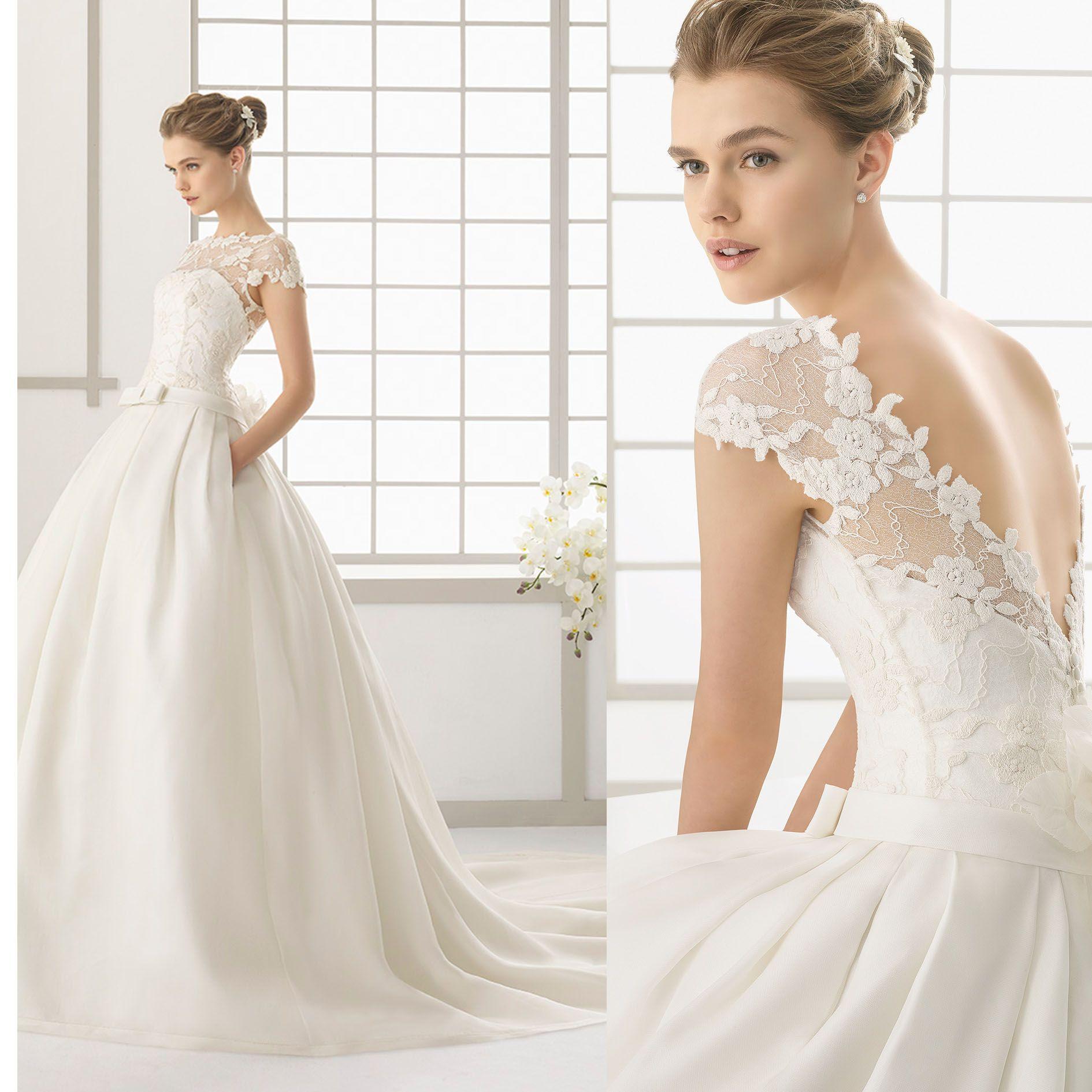 191d78cdd309 2016 new rose clara wedding dresses lace bateau neck short sleeves