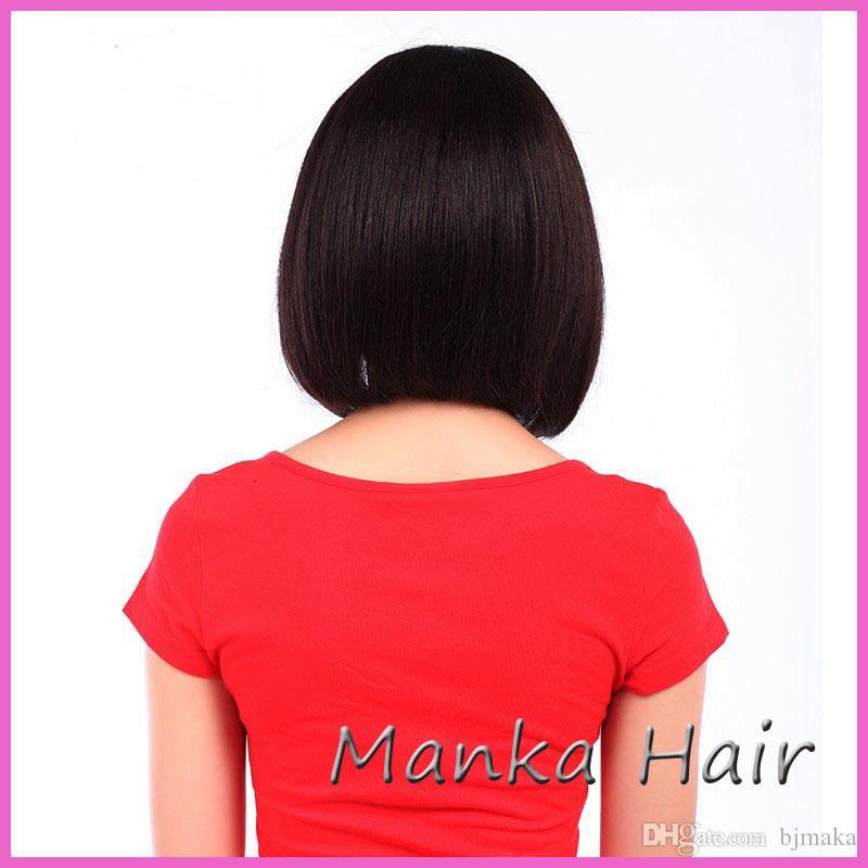 100% cabelo humano Quente Encantador curto corte perucas de seda top glueless perucas não transformados cabelo bob perucas para as mulheres negras