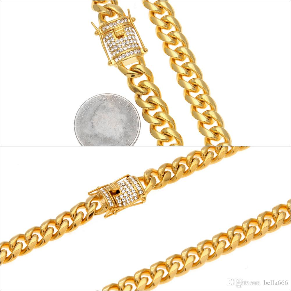 10mm Männer Kubanische Kette Miami Link Halskette Hip Hop Strass Edelstahl Ketten Verschluss Halsketten Schmuck 75 cm Lange Gold Silber Farbe