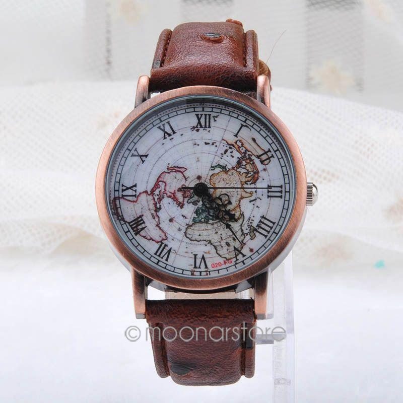 Vintage rome world map dial bronze watches men women leather quartz vintage rome world map dial bronze watches men women leather quartz watch clock wristwatches relojes y55mhm433m5 watches to buy buy online watches from gumiabroncs Gallery