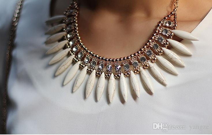Sıcak Yeni Kadın Moda Kristal Kolye Zincir Gerdanlık Tıknaz Bildirimi Saçak Önlük Kolye Rhinestone Boho Parti Düğün Için M161