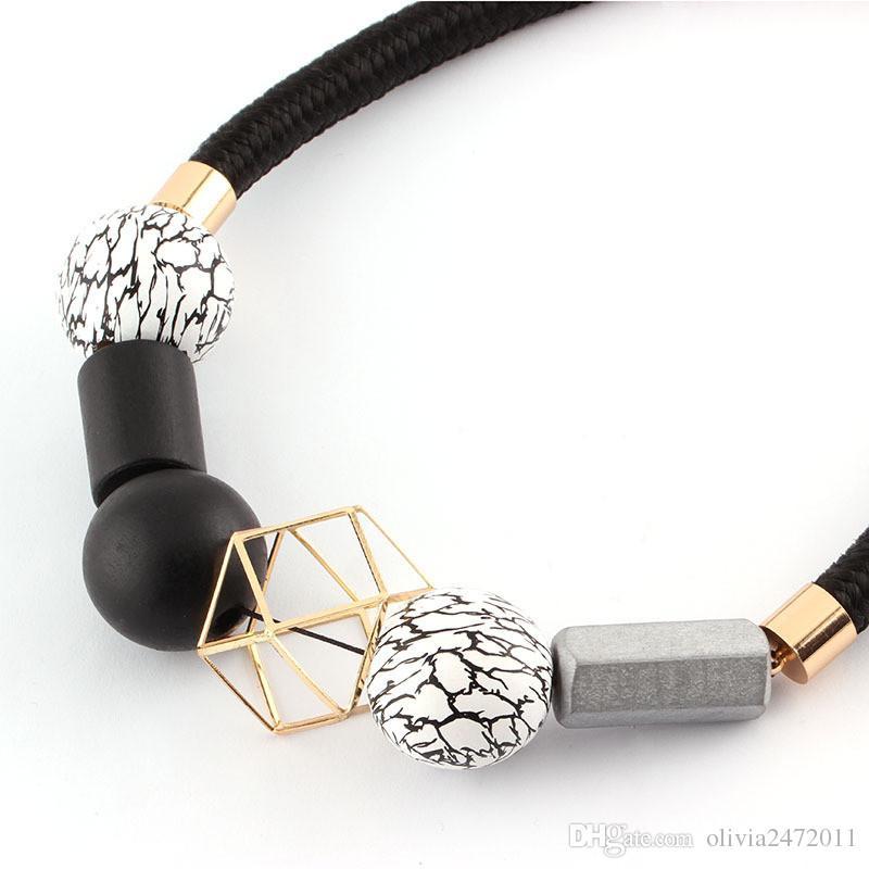 New Fashion Black Leather Statement Necklace Ethnic Boho Chokers Necklaces Women Black & White Wood Beads Choker