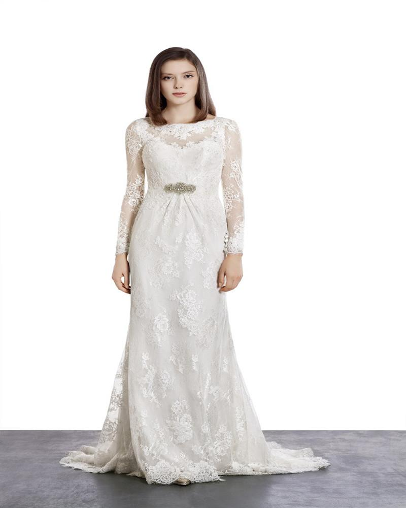 Traditional Wedding Gowns With Long Sleeves: Autumn 2015 Traditional Long Sleeves Lace Wedding Dresses