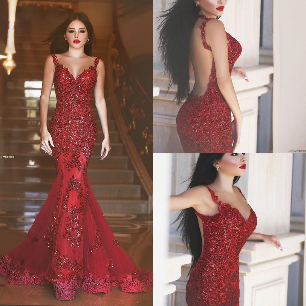 Dark Red Prom Dresses Arabic Style Said Mhamad Mermaid Evening Gowns ...