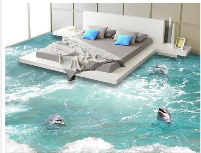 Custom photo floor wallpaper 3d stereoscopic waves for 3d flooring uk