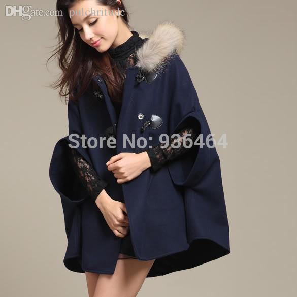 15c344db0b2 2019 Wholesale Plus Size Women Winter Warm Half Batwing Coats Wool Fashion  Poncho Hoodie Coat Jacket Loose Cloak Cape Available 34651 From Beatricl