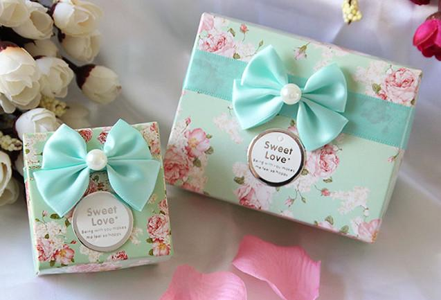 wedding cake boxes for guests mint wedding favors boxes guests bow flower 2015 new 8577