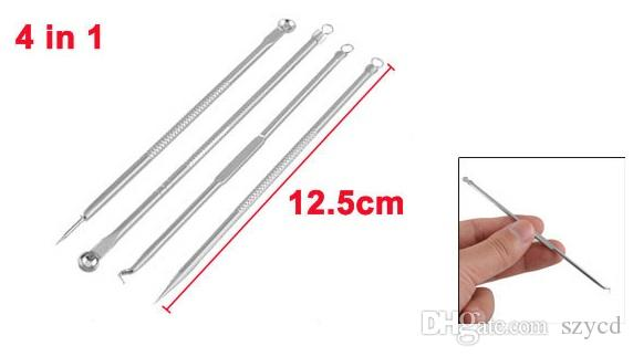 4-Piece Blemish Extractor Set Stainless steel Blackhead Pimples Acne Comedone Remover Needle Tool,Hook Headm Doule Ends,Straight Needle