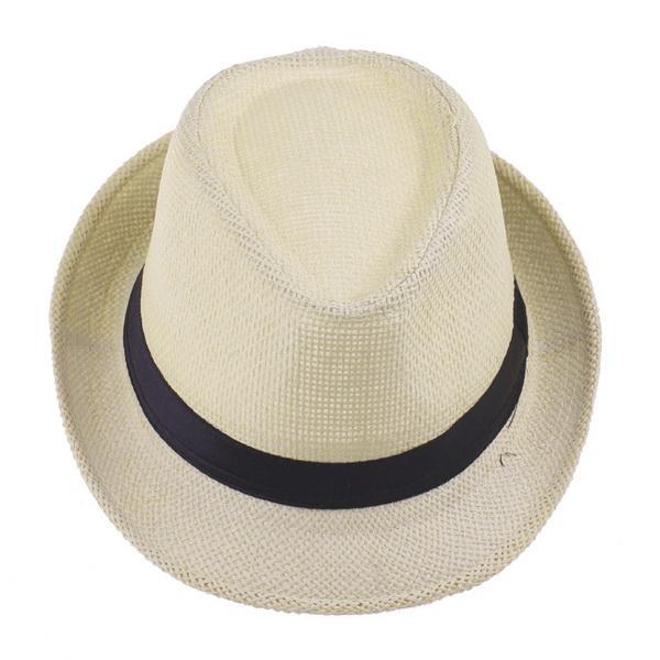 Brand New Vogue Men Women Straw Fedora Hat Fashion Unisex Summer Beach Casual Hat Beige ZDS5*10
