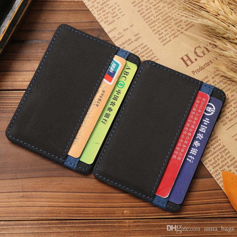 super Slim simple leather magic elastic money clip id mini business card holder wallet 6 holders blue red