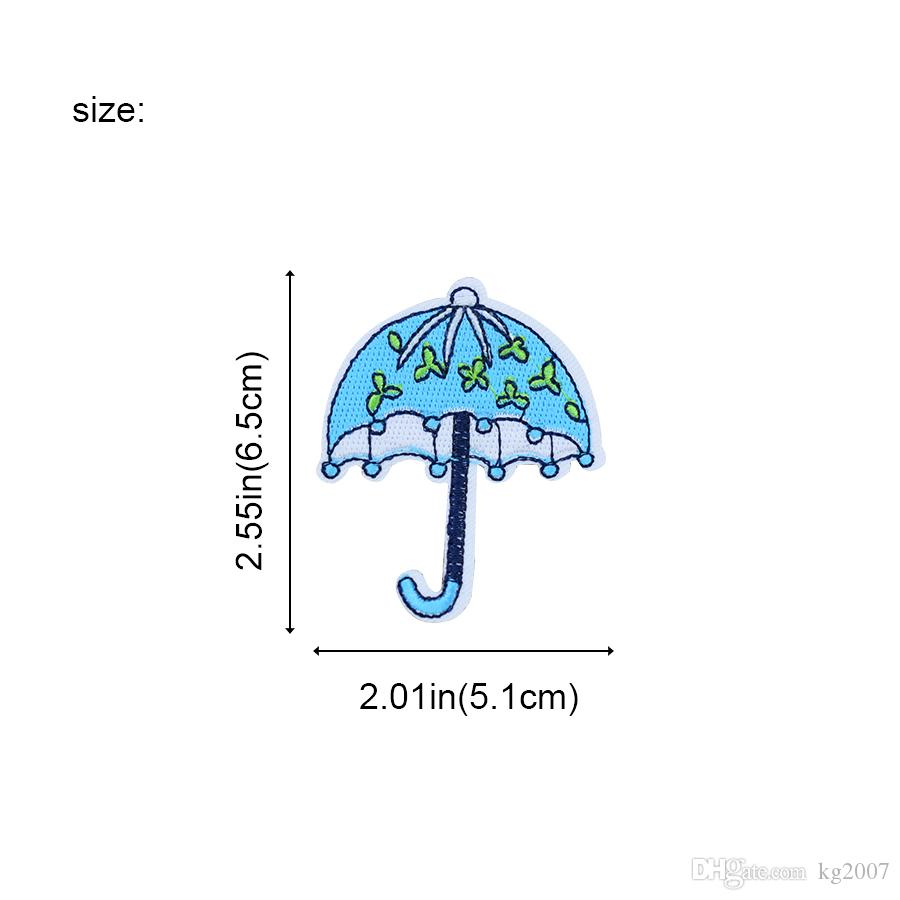 Umbrella Patches for Clothing Bags Iron on Transfer Applique Blue Patch for Kids Jeans DIY Sew on Embroidery Badge