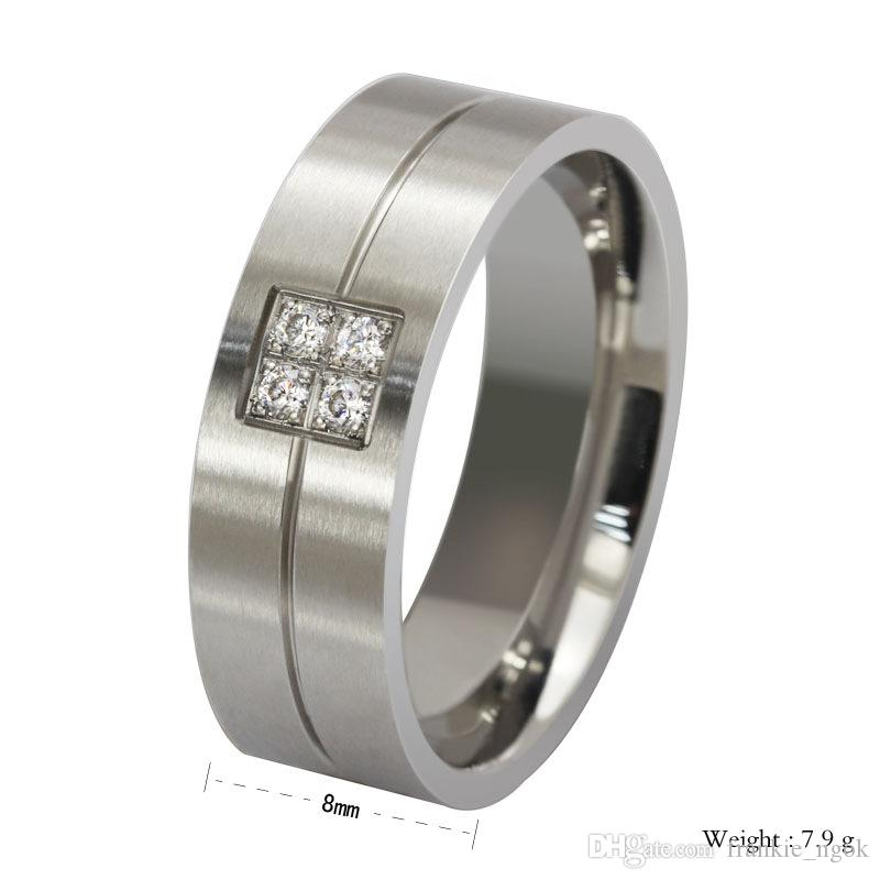 티타늄 강철 큐빅 지르코니아 남성 패션 클래식 반지 실버 8mm 크기 7-13
